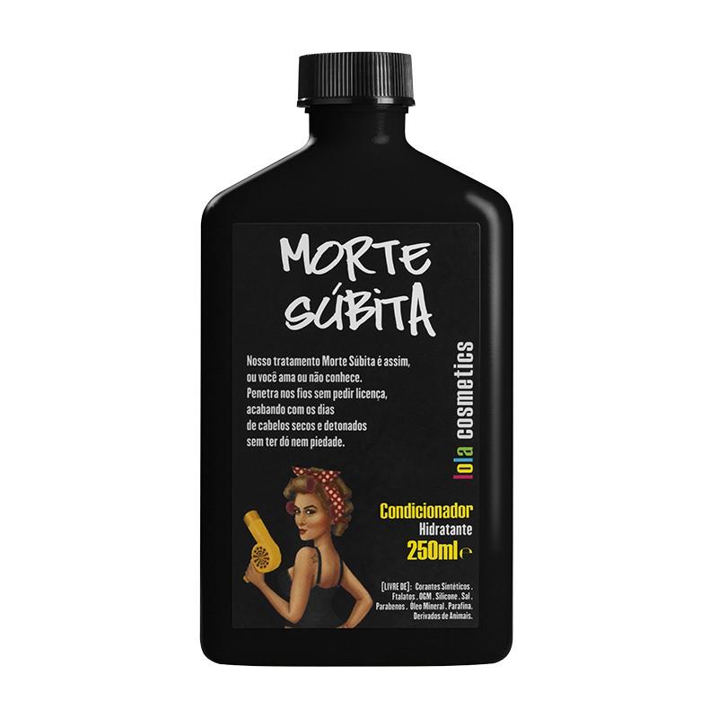 Método Curly Acondicionador Hidratante Morte Súbita 250ml. Foto de botella de 250 ml. de color negro con dibujo de una chica con el cabello rizado sosteniendo un secador en la mano.