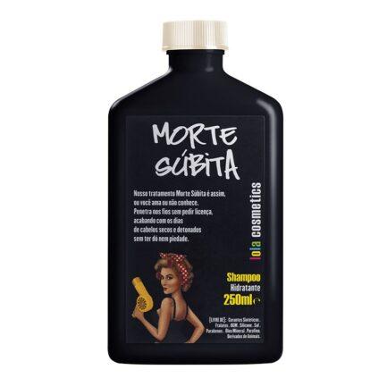 Método Curly Champú Hidratante Morte Súbita 250ml. Botella de color negro con el dibujo de una chica con el pelo rizado llevando un secador en la mano.